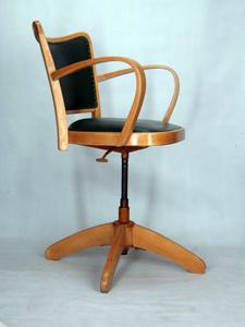 Chaise A Accoudoirs Fauteuil Bureau Tournant 1950 Vintage